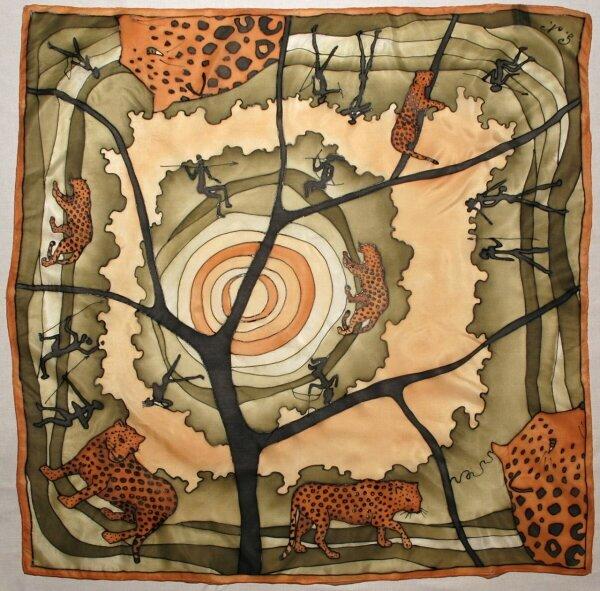 Hedvábný ručně malovaný šátek - GEPARD 9b3a0024db