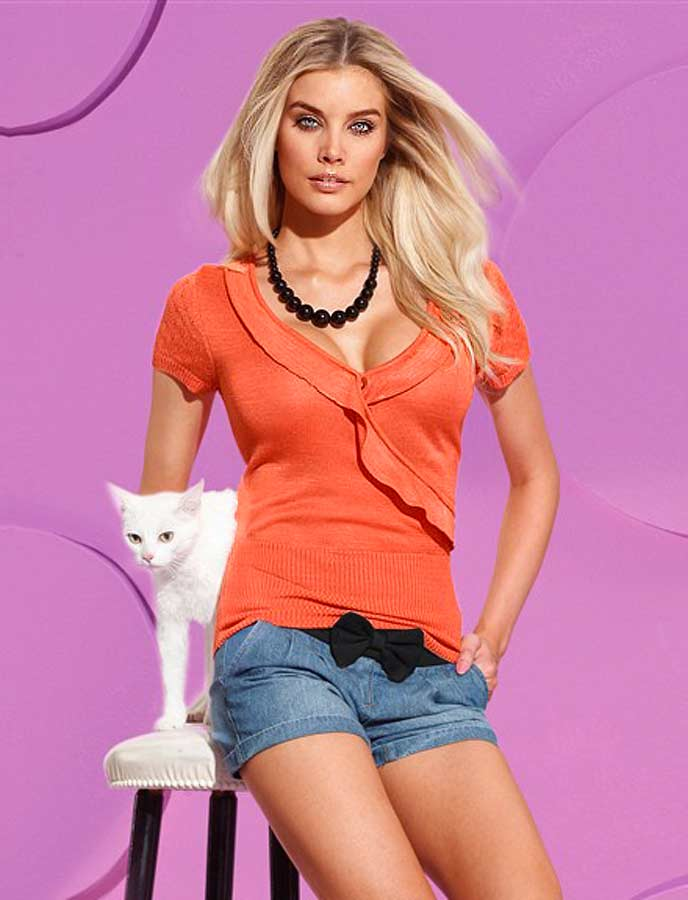 Pussy Deluxe Pussy Deluxe dámský svetr s krátkými rukávy