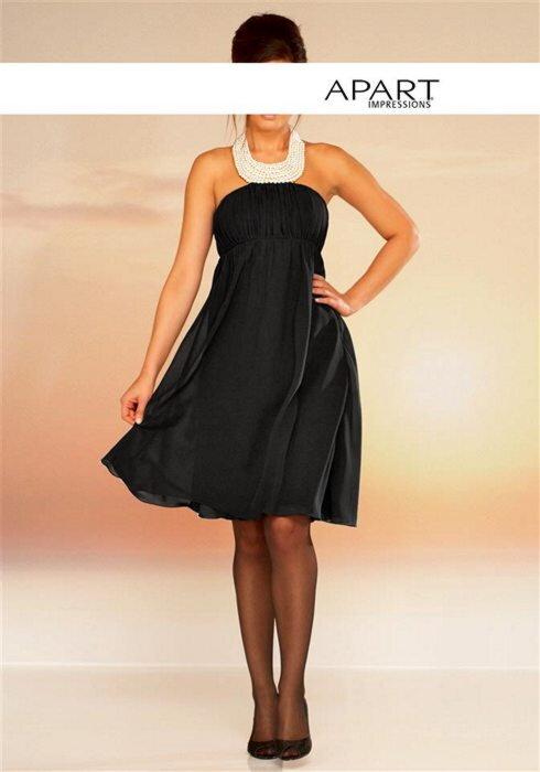 919e4f340c22 Šifónové večerné spoločenské šaty s perlami APART v čiernej farbe