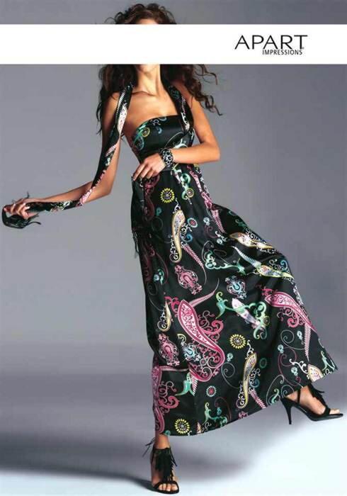 Pestré saténové korzetové šaty APART Impressions vo farbe čiernej s pestrým  vzorom c73de07af8