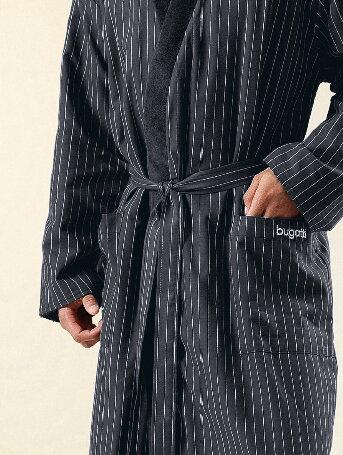 468e8cf81e9 Pánský koupací plášť BUGATTI bavlněný double-face v černé barvě
