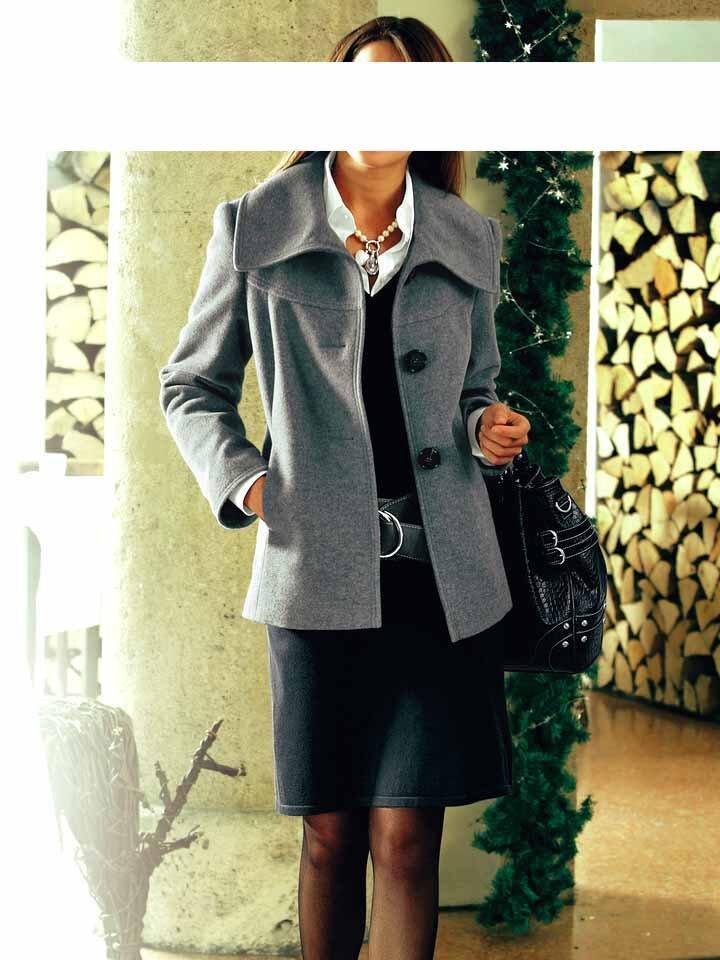 Krátký zimní dámský kabát Ashley Brooke v sivé barvě z vlny a kašmíru e49d3cda3ef