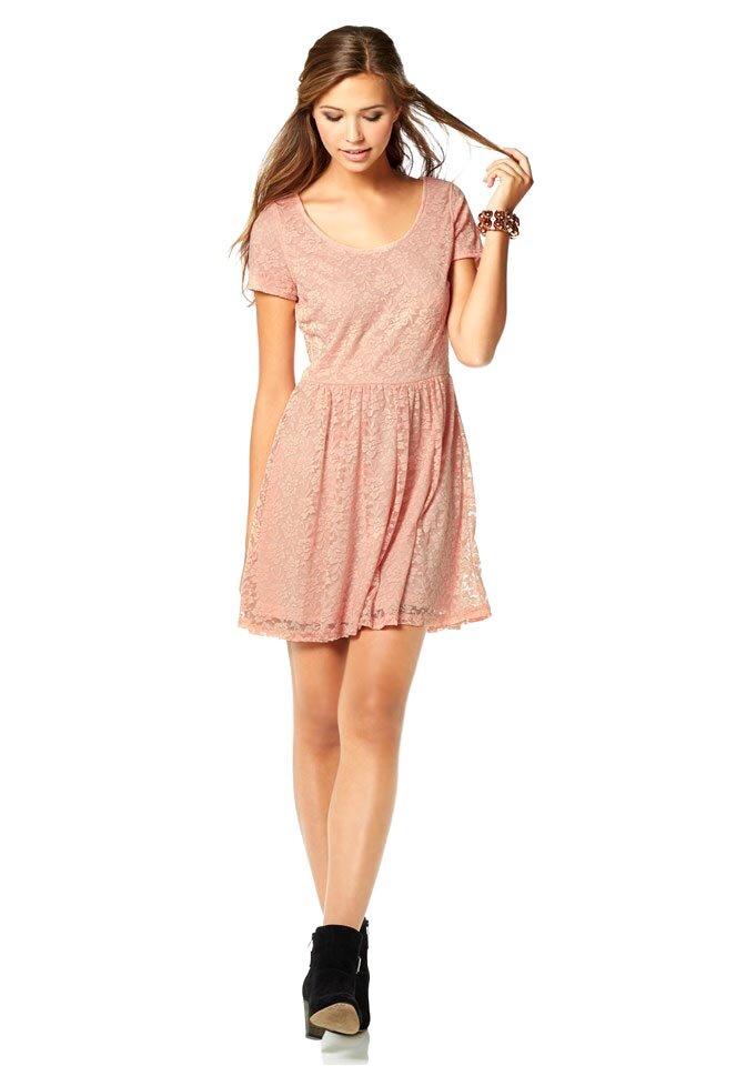 AJC romantické krajkové šaty ve starorůžové barvě ce39eda1bf