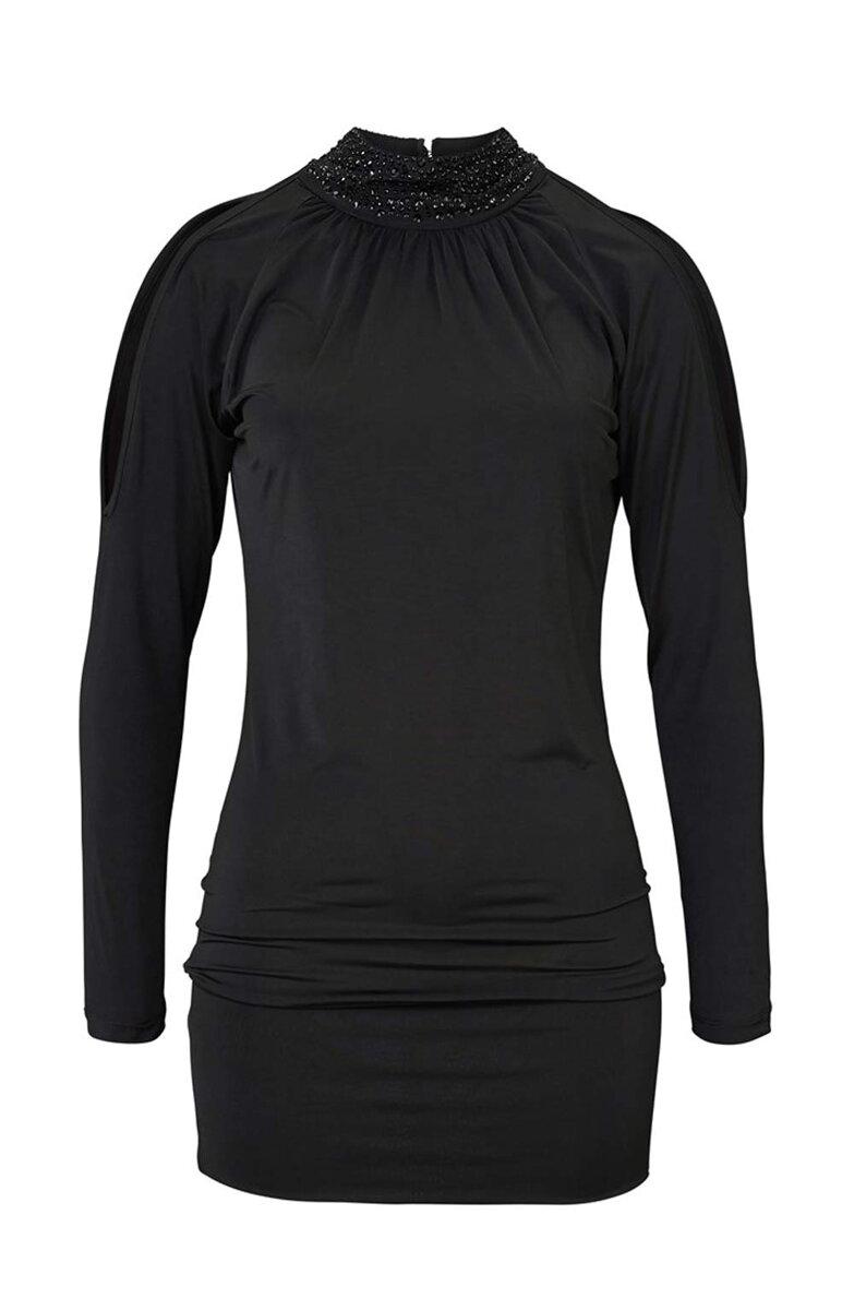 MELROSE sexy úzke čierne šaty s dlhým rukávom e5ef49b3ec9