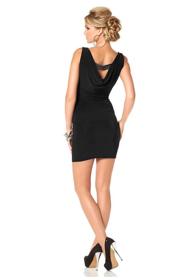 a6556a7c1011 Spoločenské krátke čierne šaty so zadným výstrihom MELROSE