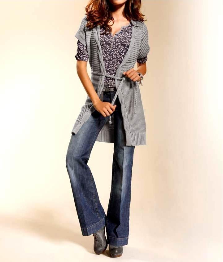 f0754b6d54a4 HEINE dlouhý pletený svetr - vesta pro plnoštíhlé