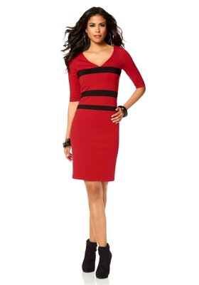 Sexy úzke návrhárske šaty so zadným zipsom vo farbe červenej LAURA SCOTT 18566de8104