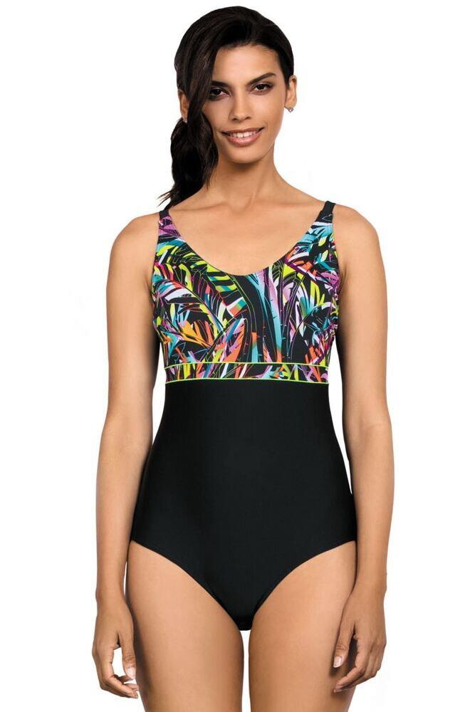 Jednodílné plavky Amara černé s vzorem defa98a4cf
